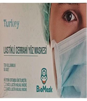 50 ADET Tek Kullanımlık Lastikli Telli 3 Katlı Cerrahi Koruyucu Yüz Maskesi