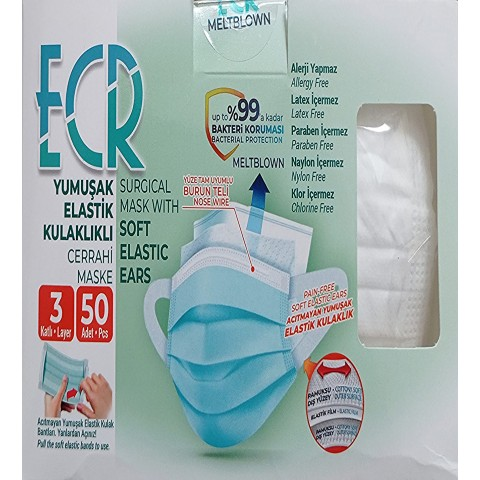 50 Adet Meltblown Filtreli Elastik Kulak Bantlı BEYAZ Renk Telli Cerrahi Medikal Maske