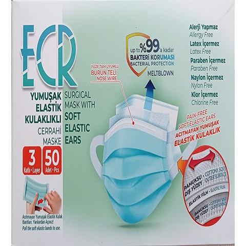 50 Adet SİYAH Tek Kullanımlık Lastikli Telli 3 Katlı Cerrahi Koruyucu Yüz Maskesi
