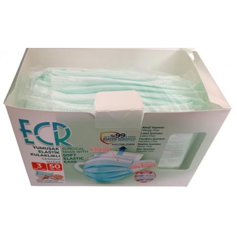 150 Adet 3 Katlı Cerrahi Maske Yeşil Renk Yeni Nesil Yumuşak Lastikli